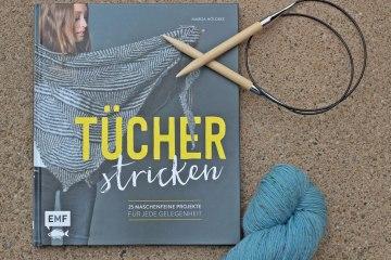 Tücher stricken - Titelbild  Buchbesprechung: Tücher stricken von Marisa Nöldeke