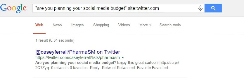 These are the results that I get when I search for tweets about social media budget planning