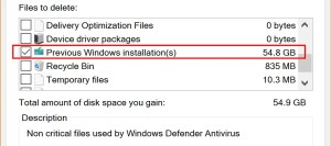 Use the Windows Cleanup tool to remove the Windows.old directory from your PC and free up disk space