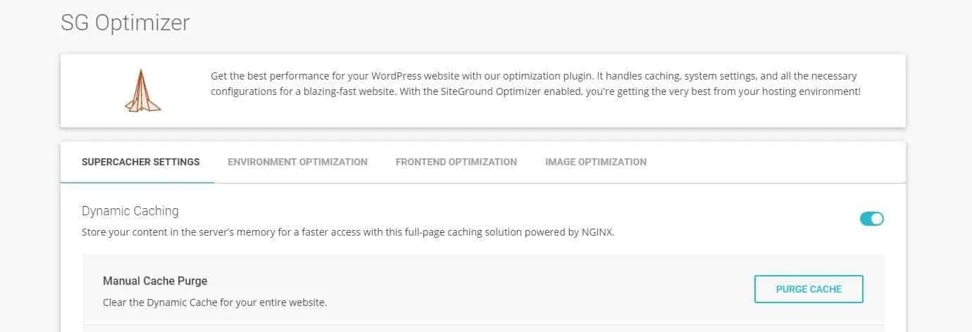 Enable server caching with Siteground SG Optimizer plugin