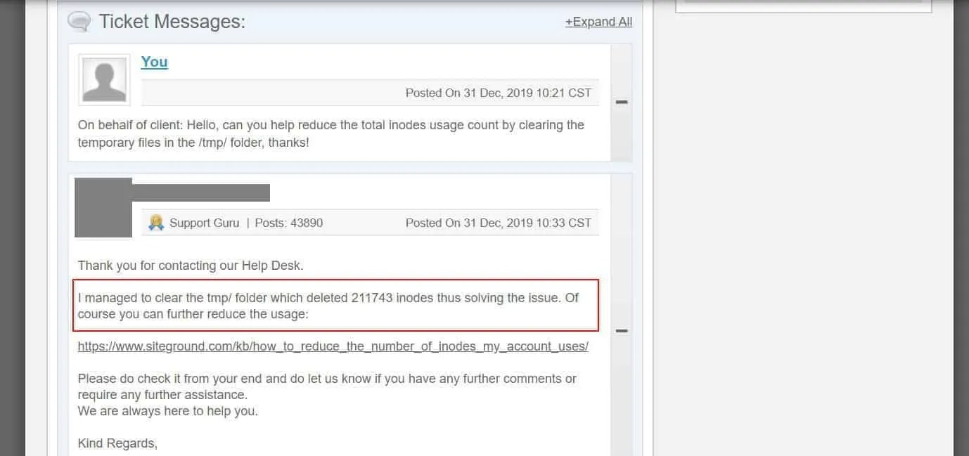 Siteground removed old cache files and cleared up my inode usage issue