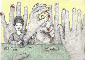 The Manicurist, ink and graphite, (30,5x22,9cm)