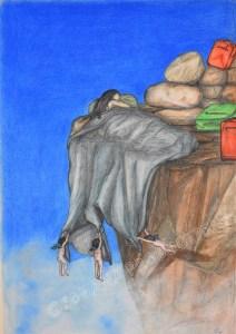 El descanso, ink, graphite and pastel, 42x59,4cm
