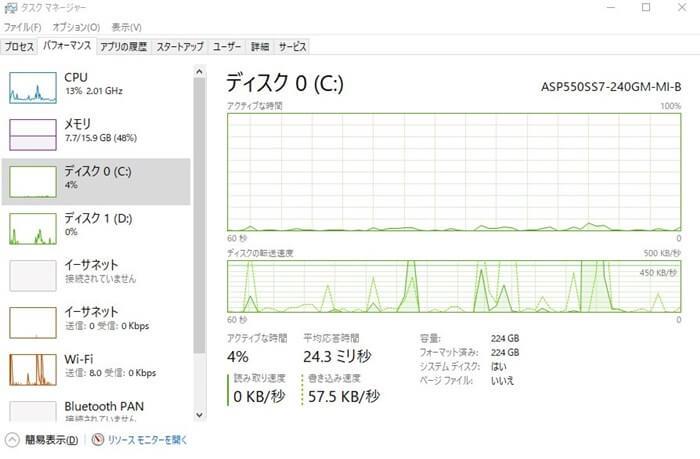 Windows10ディスク使用率100%解決