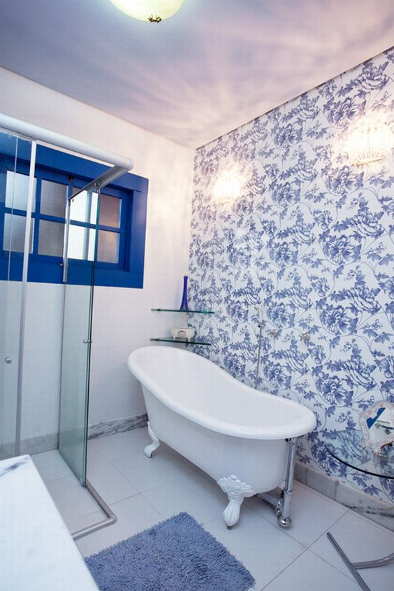 Decorao de Banheiro Azul e Branco 60 Modelos