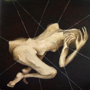 Tension, Pomme Camille, acrylique sur papier marouflé sur bois, 120 x 120
