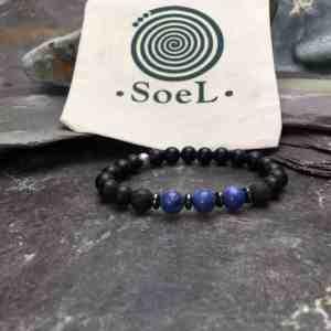 Onyx, Sodalite and Lava Stone Bracelet
