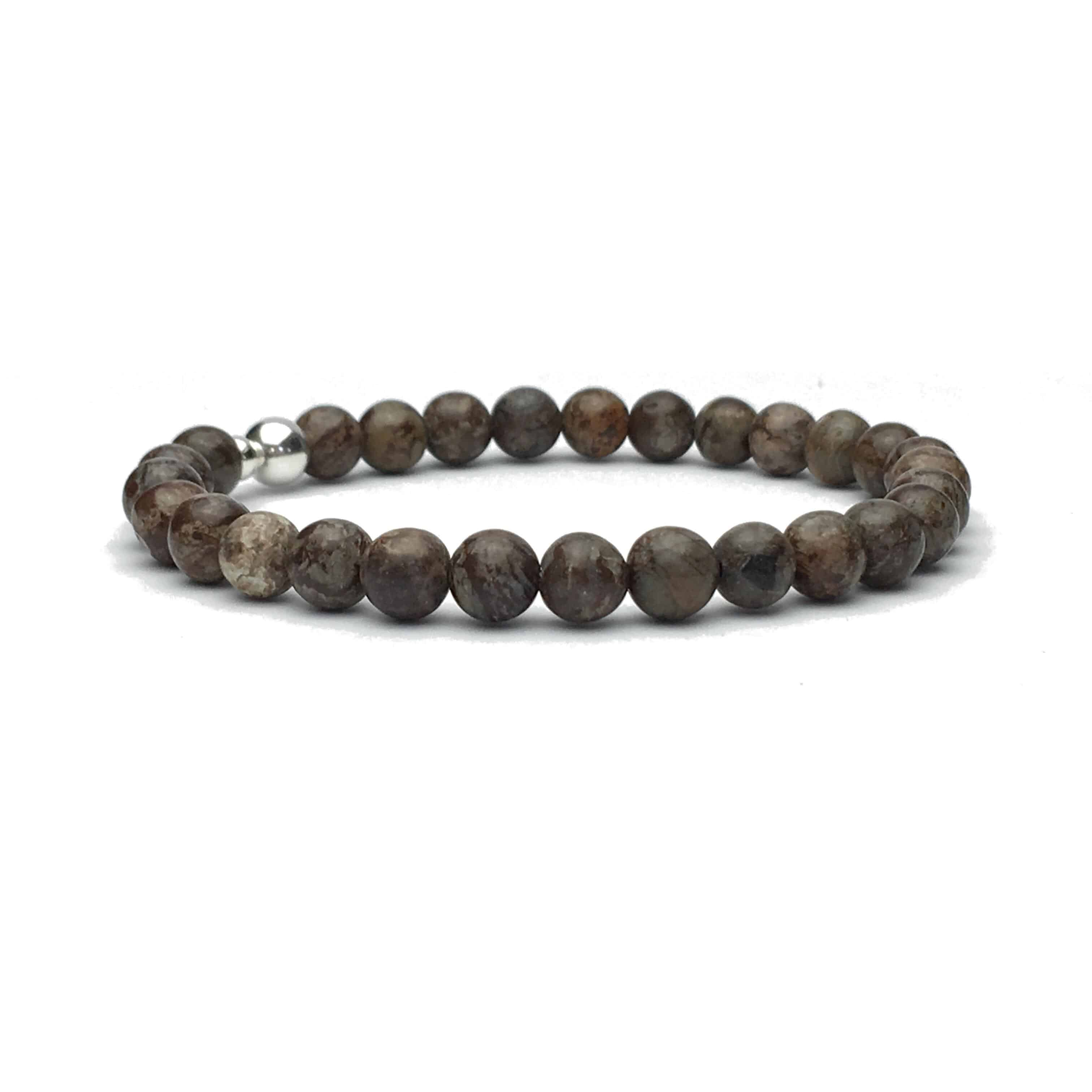 6mm Obsidian and Sterling Silver Bead Bracelet