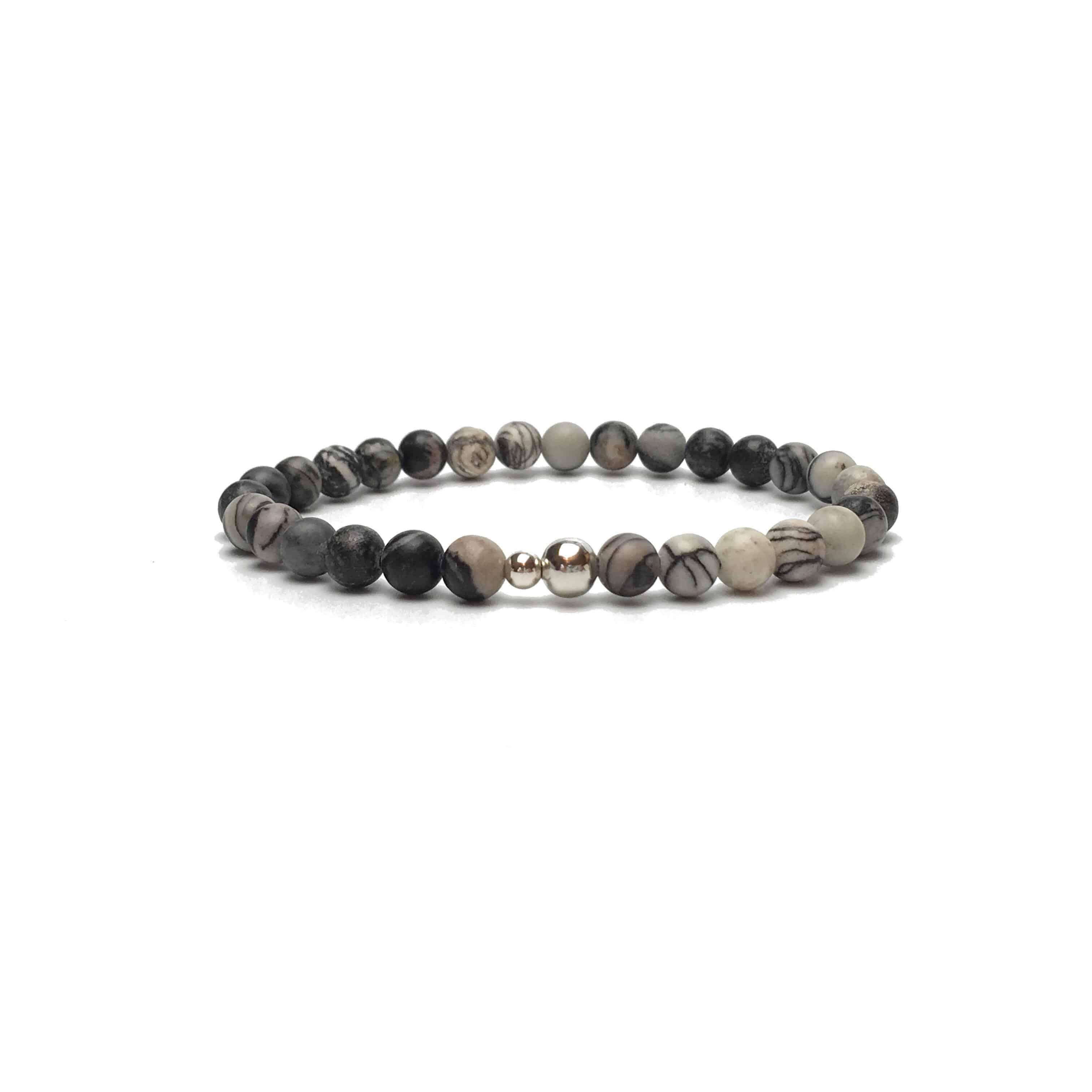 6mm Zebra Stone and Sterling Silver Bead Bracelet