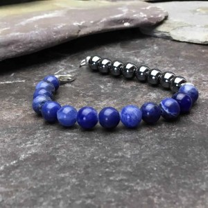 Sodalite and Hematite Beaded Bracelet