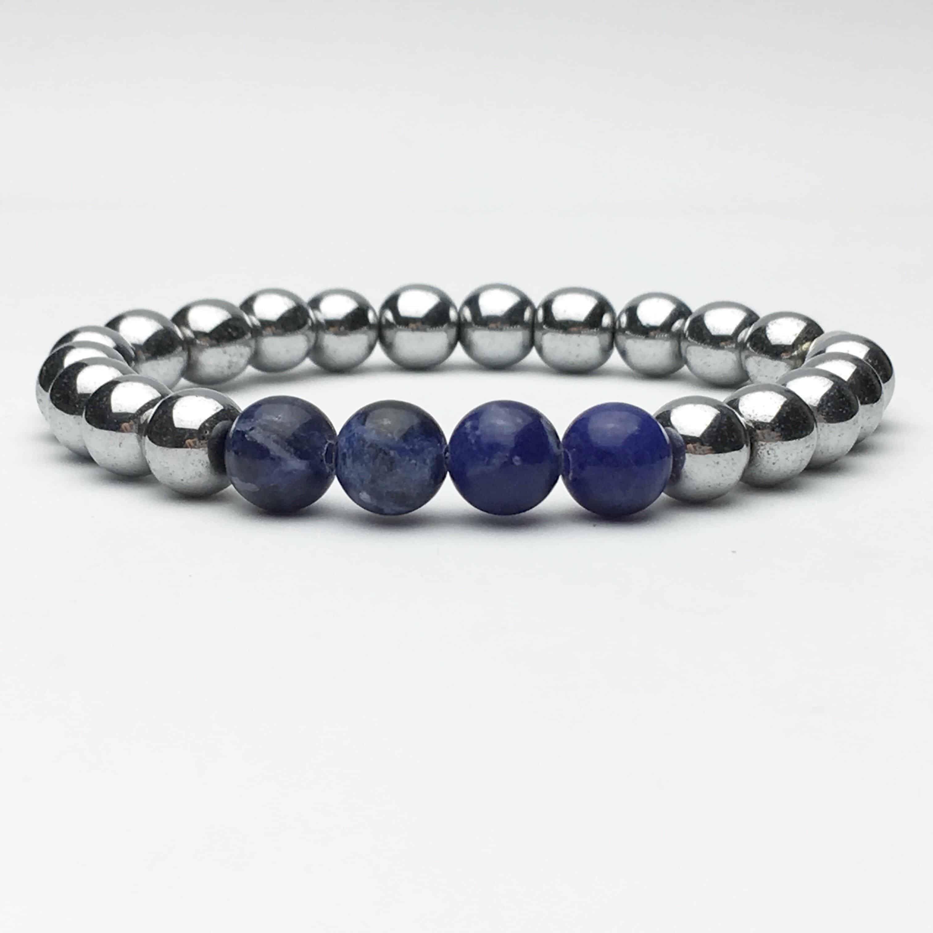 Silver Hematite and Sodalite Bracelet
