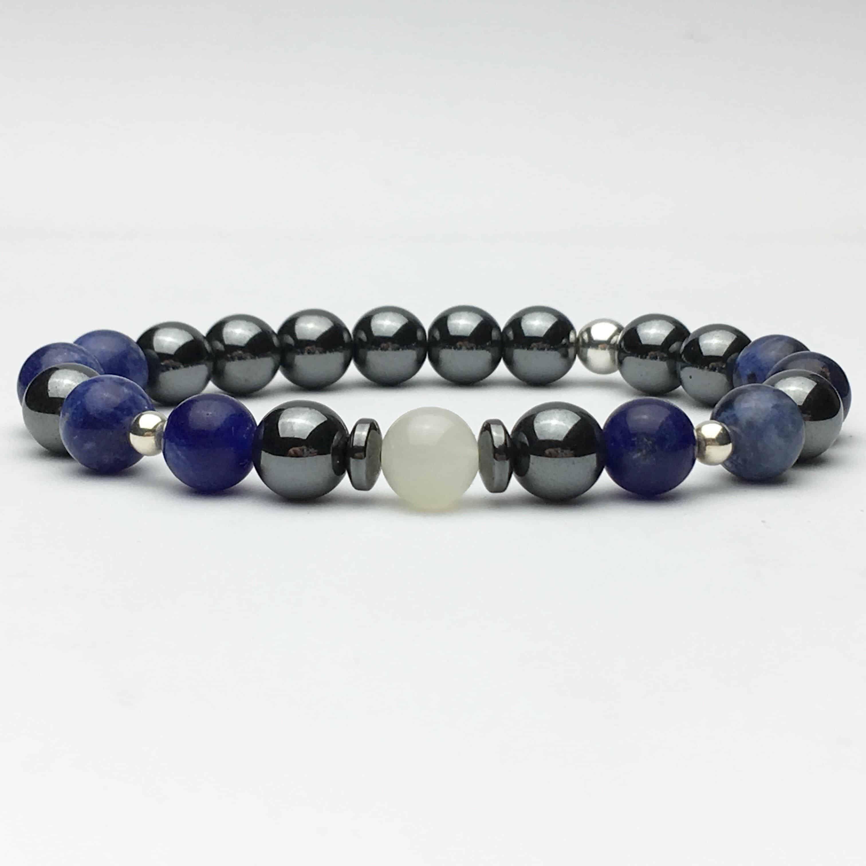 Moonstone, Hematite and Sodalite Bracelet