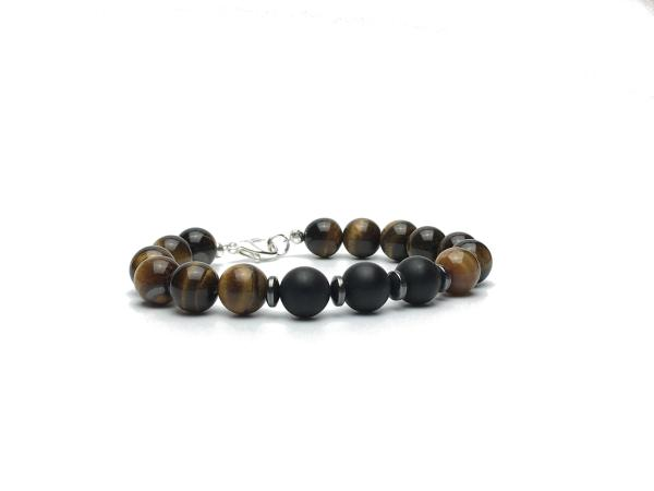 10mm Tigers Eye and Onyx Bead Bracelet