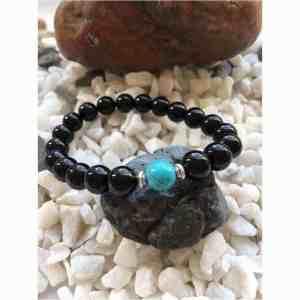 Black Polished Onyx and Cool Green Turquoise Stone Bead Fashion Bracelet
