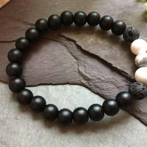 Black Onyx, Lava Stone and White Howlite Bead Bracelet