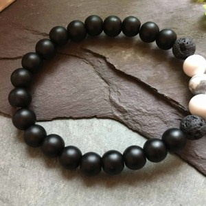 Black Onyx, Lava Stone and White Howlite Bead Bracelet