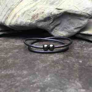 3mm Gun Metal Leather Double Wrap Bracelet