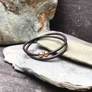 Brown Plain Leather Double Wrap Bracelet