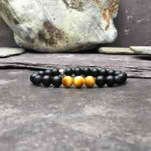 Honey Gold Tigers Eye, Lava Stone and Onyx Diffuser Bracelet