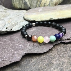 Onyx 7 Chakra Diffuser Healing Bracelet