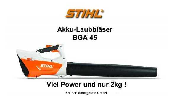 stihl bga 45 akku laubbl ser ein leichtgewicht mit ordentlich power. Black Bedroom Furniture Sets. Home Design Ideas