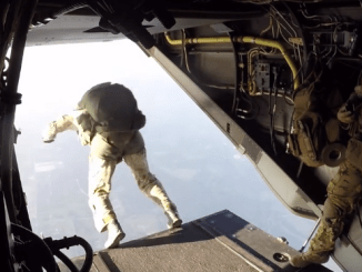 Members of the 21st Special Tactics Squadron perform a military free fall jump on 18 Aug 2016. (Photo from DVIDS video).