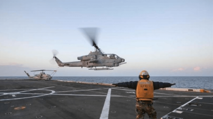 An AH-1W Super Cobra from 22nd Marine Expeditionary Unit lands on a Navy ship in the Mediterranean Sea. The helicopters have been taking part in Operation Odyssey Lightning - the campaign against ISIS in Libya. (Photo USMC by SGT Ryan Young, Nov 18, 2016).