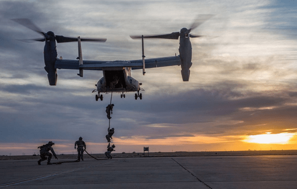 ARSOF Soldiers fastroping from a CV-22. (Photo credit USASOC 20170511)