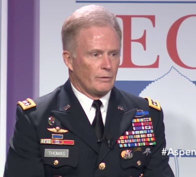 General Tony Thomas spoke for over an hour before an audience at the Aspen Security Institute about the use of SOF around the world. (Image from video by Aspen Security Institute, July 21, 2017).