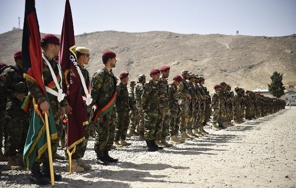 Trainees of the Afghan Commando Course CDOQC for July 2018 in formation at Camp Commando. Photo by MSG Felix Figueroa, NSOCC-A, July 15, 2018.