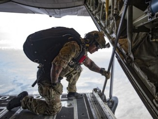 High Altitude Low Opening (HALO) jump from a C-130J over Bagram Air Field, Afghanistan on March 23, 2018.