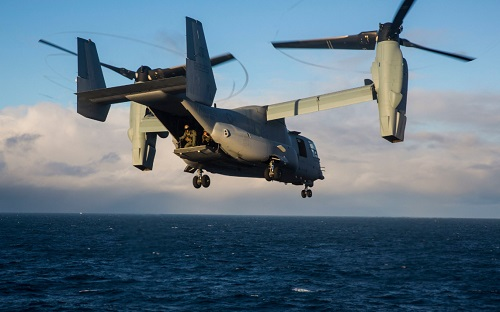 A Marine CV-22 operates off the coast of Iceland during exercise Trident Juncture 2018 on October 17, 2018.
