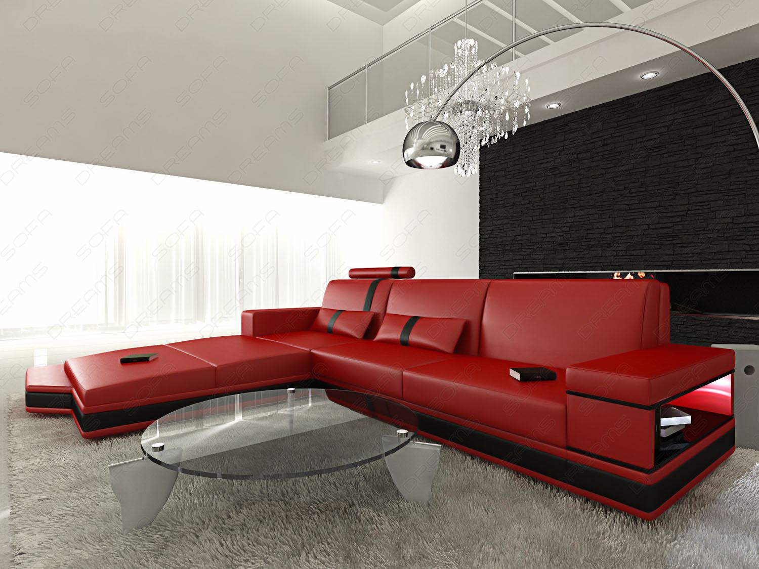 Contemporary Leather Sectional Sofa Set MESSANA L Shaped with illumination  eBay