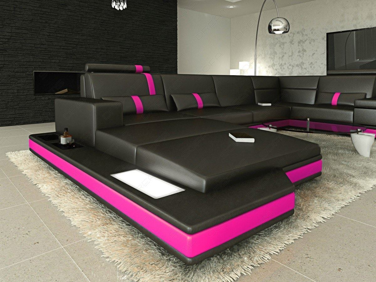 pink leather sofas ravenna euro lounger sofa bed interior design messana u shaped in black