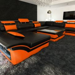 Black And Orange Sofa Lazy Boy Air Mattress Bed Big Sectional Enzo Xxl Leather Couch With Led Lights