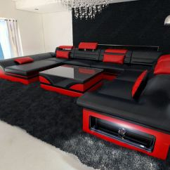 Black And Red Leather Sofa Budget Set Online Sectional Enzo Xxl Ebay