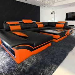 Black And Orange Sofa Mattress Warehouse Athens Ohio Big Leather Enzo With Led Lights Ebay