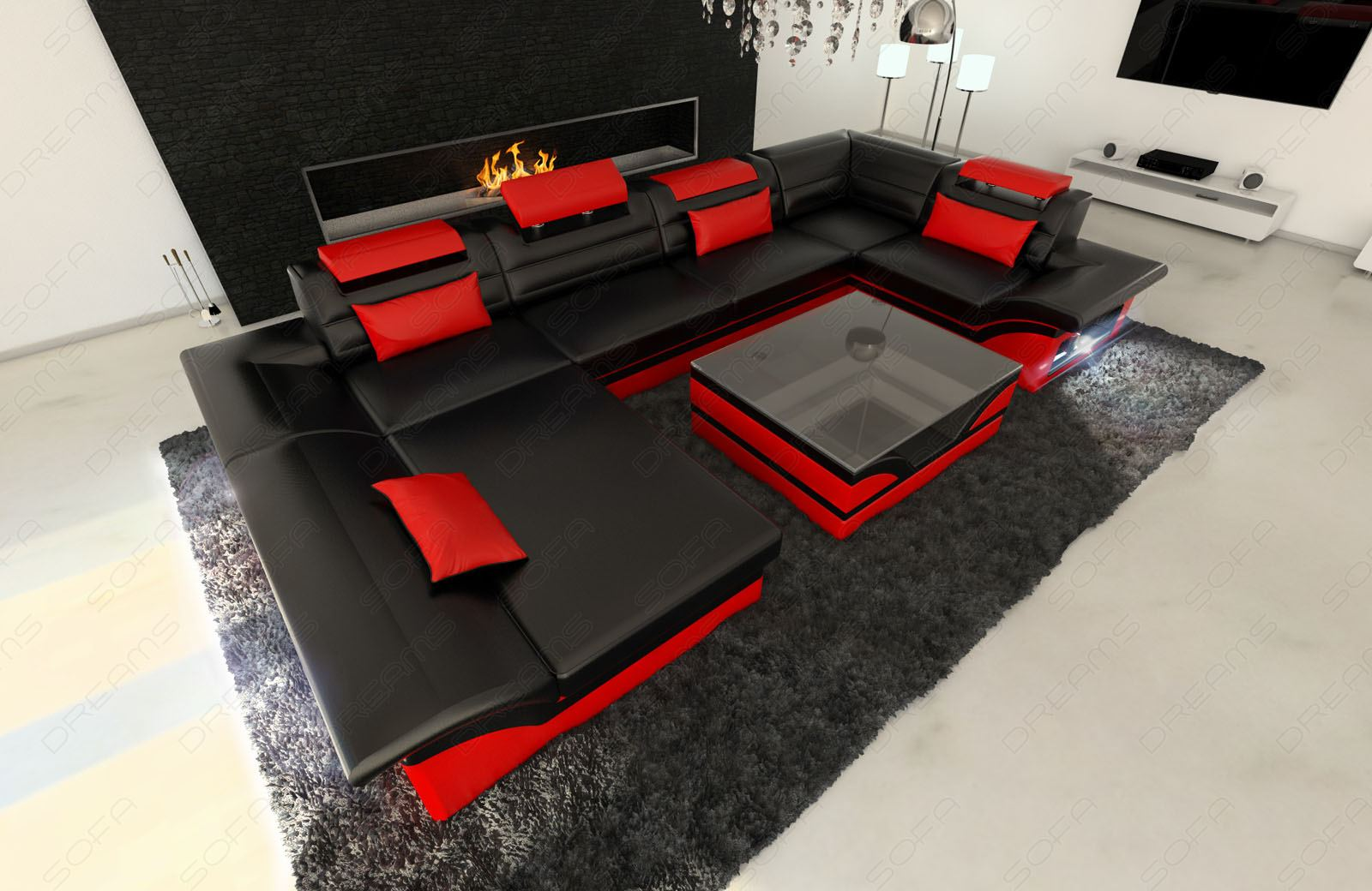 black and red leather sofa how to stop a puppy jumping on big sectional atlanta with led lights u shape couch upholstery fabric