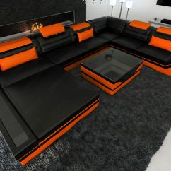Black And Orange Sofa Reclinable Electrico Design Sectional Mezzo Xxl With Led Lights