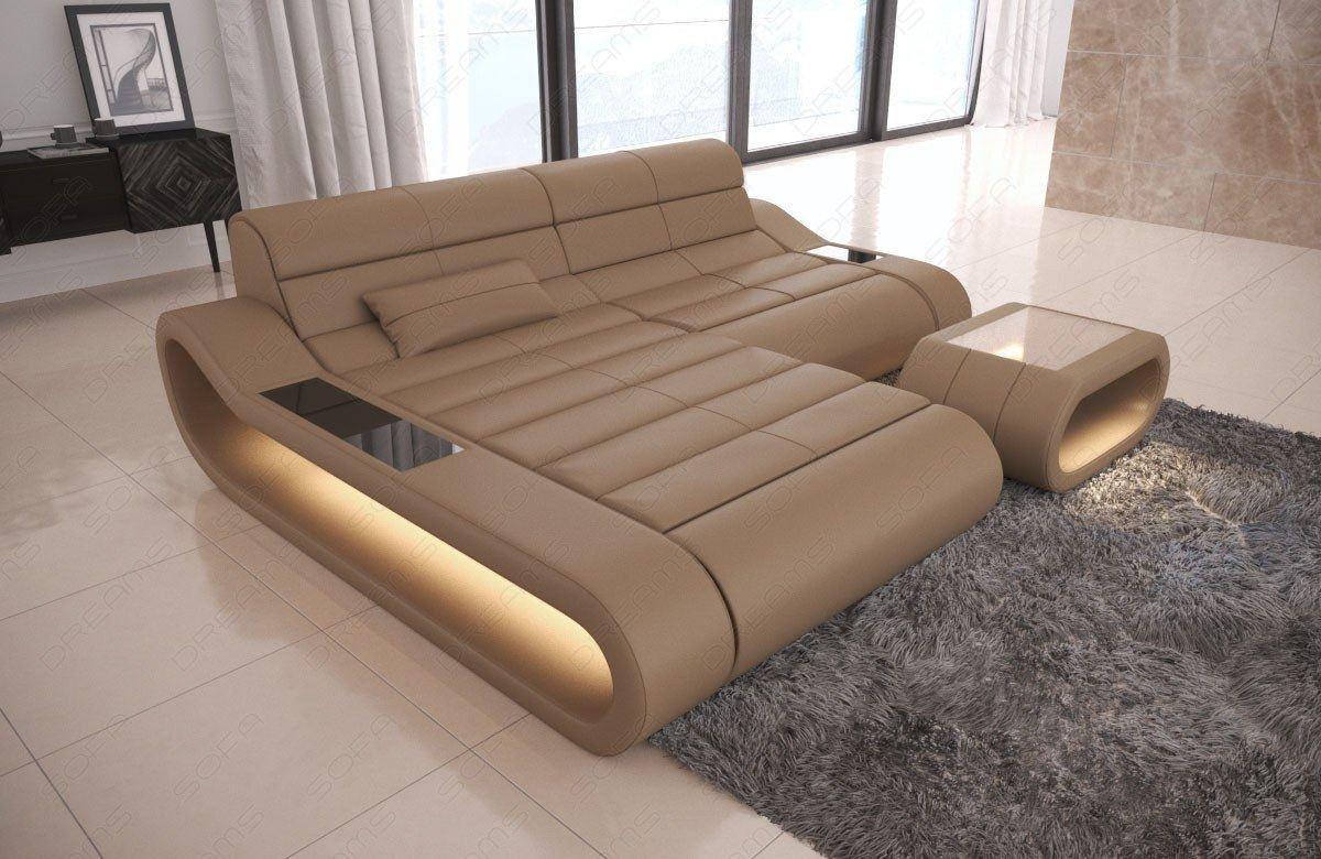 Sofa Concept in L Form  Ledersofa mit LED Beleuchtung