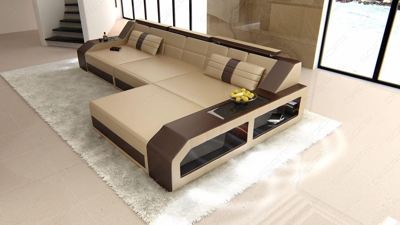 domicil arezzo sofa magna recliner set 3 1 designer ledersofa in l form ecksofa mit bettfunktion leder der farbe sandbeige dunkelbraun
