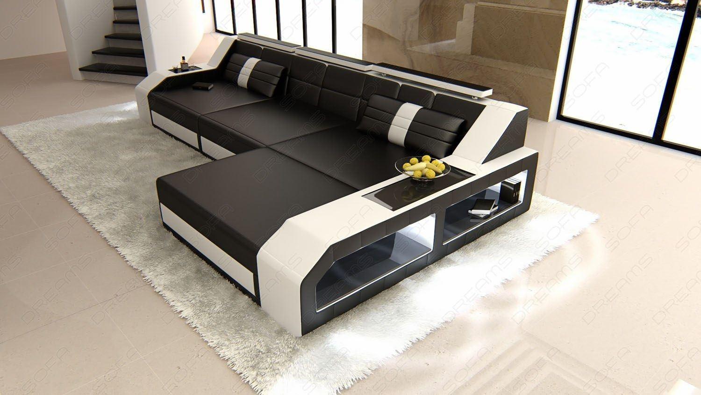 domicil arezzo sofa harbortown big lots designer ledersofa in l form ecksofa mit bettfunktion echtleder schwarz weiss