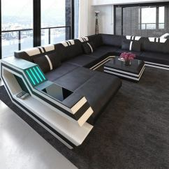 L Shaped Black Leather Sofa Set With Loose Back Cushions Ledersofa Wohnlandschaft Ravenna Xl Led