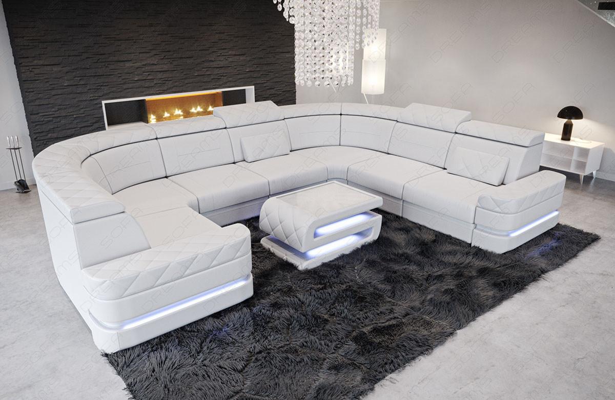 Laeder Sofa Positano I U Form Moderne Hjorne Sofa