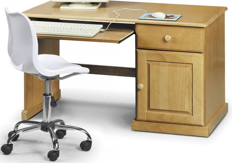 Julian Bowen  Surfer Pine Study Desk  White Swivel Chair