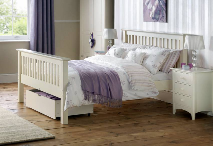 Julian Bowen  Barcelona White Shaker Style Beds  Single  Double  King Size  High Foot End