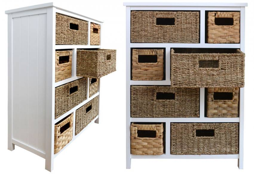 basket weave dining chairs heavy duty rocking chair statement furniture - tetbury white storage cabinets with 5, 6 or 8 woven baskets | sofa and home