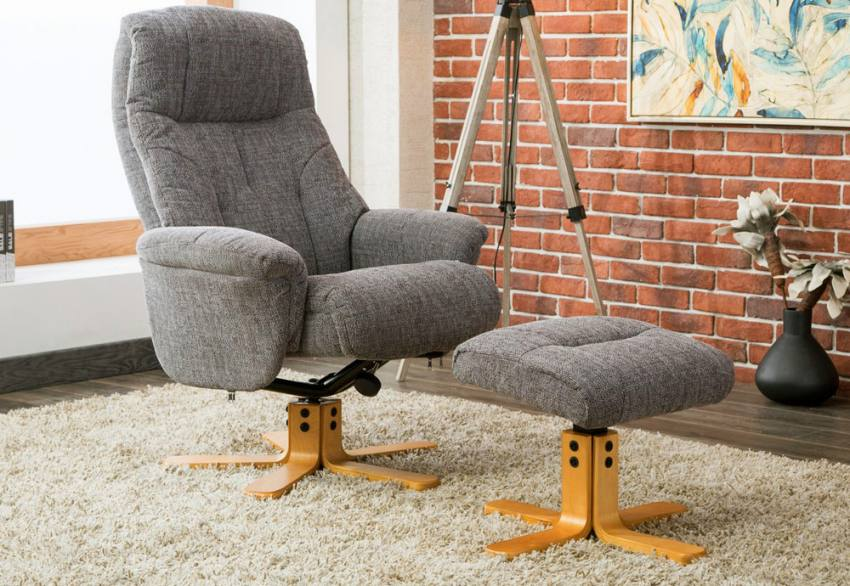 stool chair dubai covers used gfa fully adjustable fabric swivel recliner footstool collection
