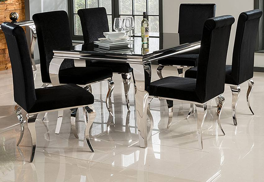 black glass living room furniture wall colour ideas for vida louis or white dining table with 4 6 set of chairs