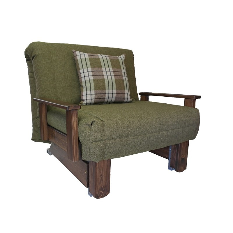chair bed with arms uk theater room lounge chairs kensington single wood stain colours sofabedbarn co